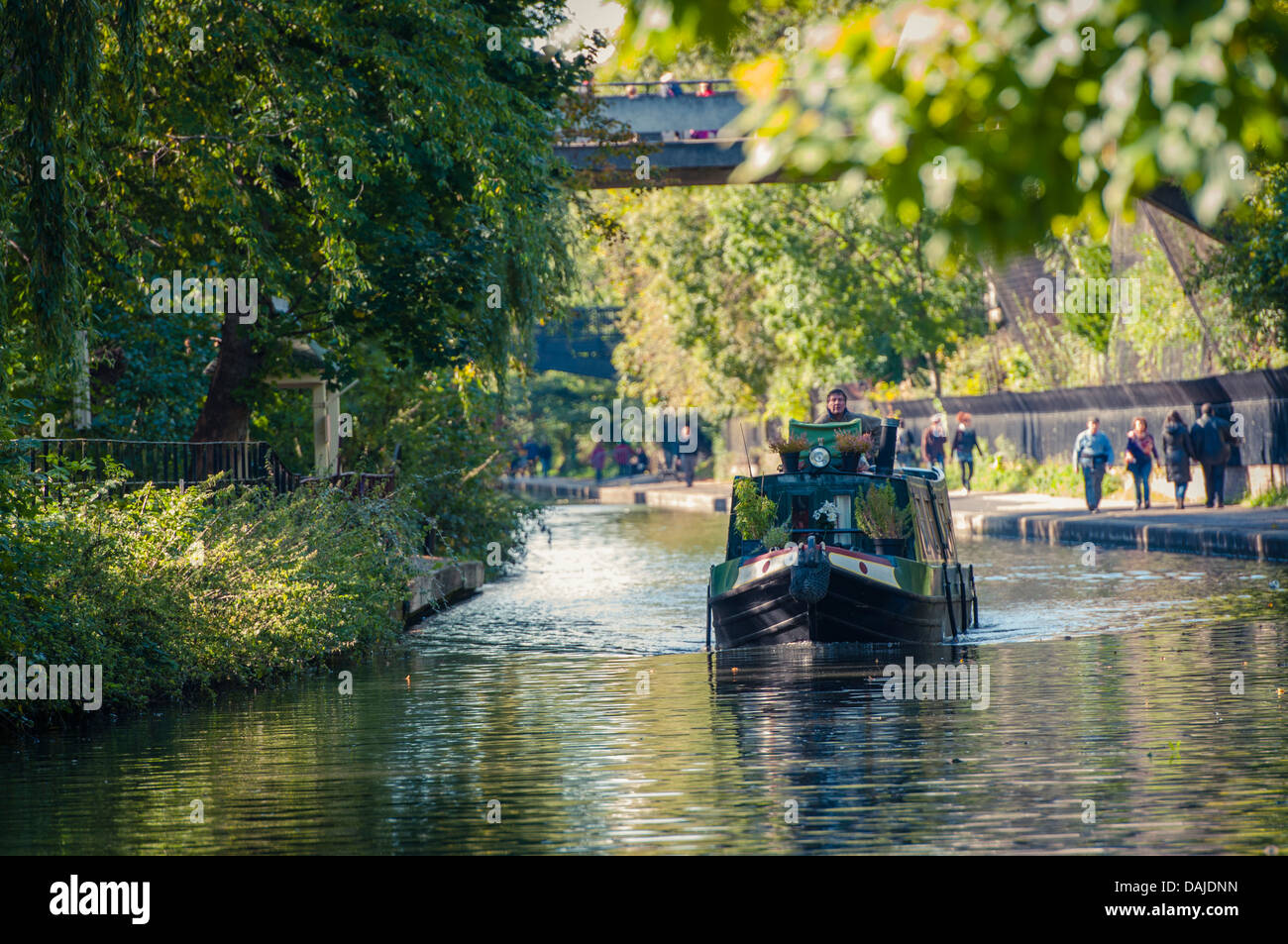 Longboat on Regent's canal, London - Stock Image