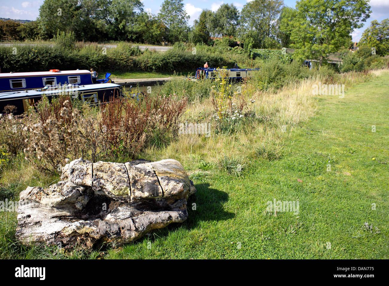 Boats on the Grand Union Canal, Braunston, Northamptonshire, Northants, England, UK, GB, narrowboat, narrowboats, - Stock Image