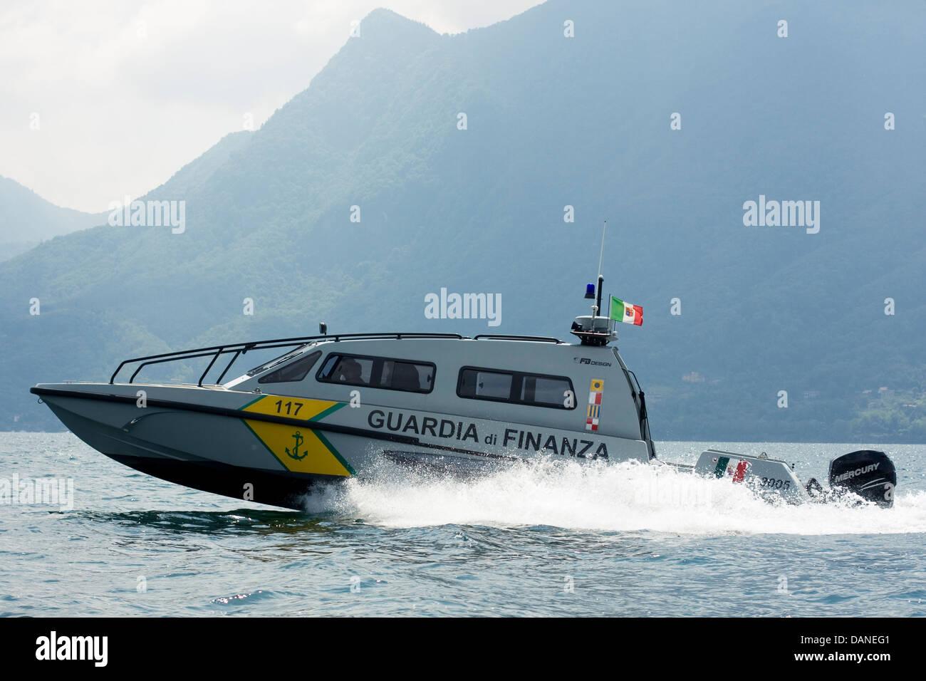 High speed patrol boat FB Design of Guardia di Finanza on Swiss/Italian border, Lake Maggiore. - Stock Image