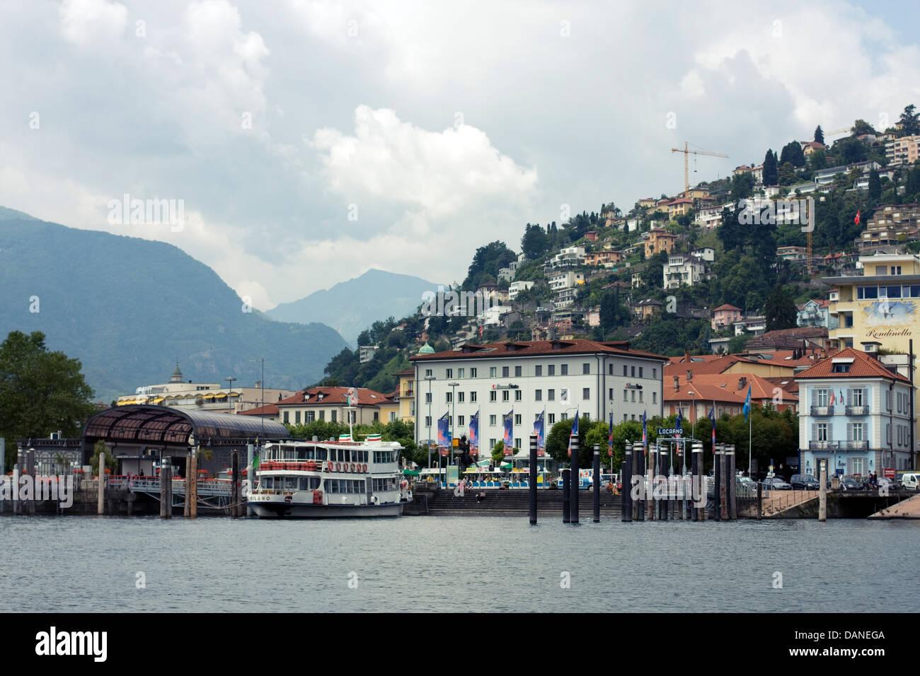 Harbor of Locarno, Ticino, Switzerland. - Stock Image