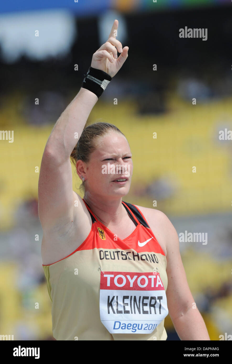 Nadine Kleinert of Germany reacts in the Women's Shot Put Qualification at the 13th IAAF World Championships - Stock Image