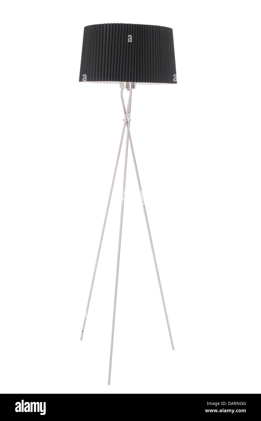 Floor lamp with a black shade on a white background - Stock Image
