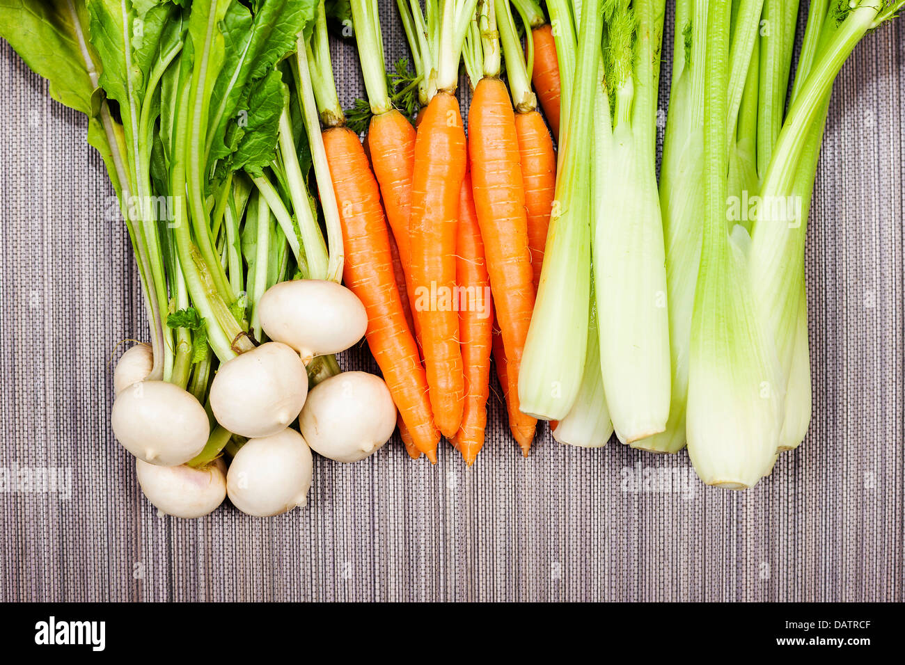 Turnip, carrot and celery from garden - Stock Image