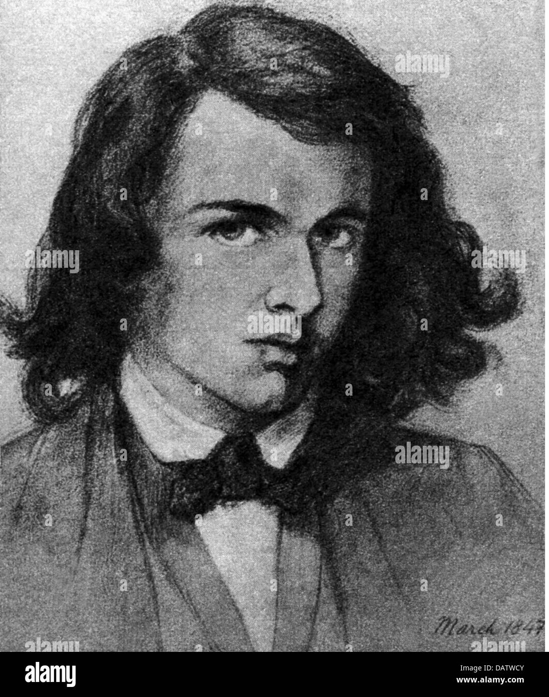 Rossetti, Dante Gabriel, 12.5.1828 - 9.4.1882, British artist (painter), poet, portrait, drawing by March, 1847, - Stock Image