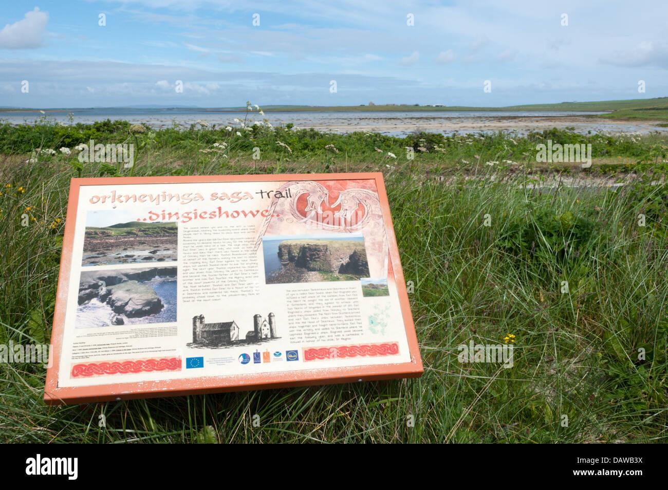 An interpretative sign for the Orkneyinga Saga Trail on Deerness, Mainland Orkney. - Stock Image