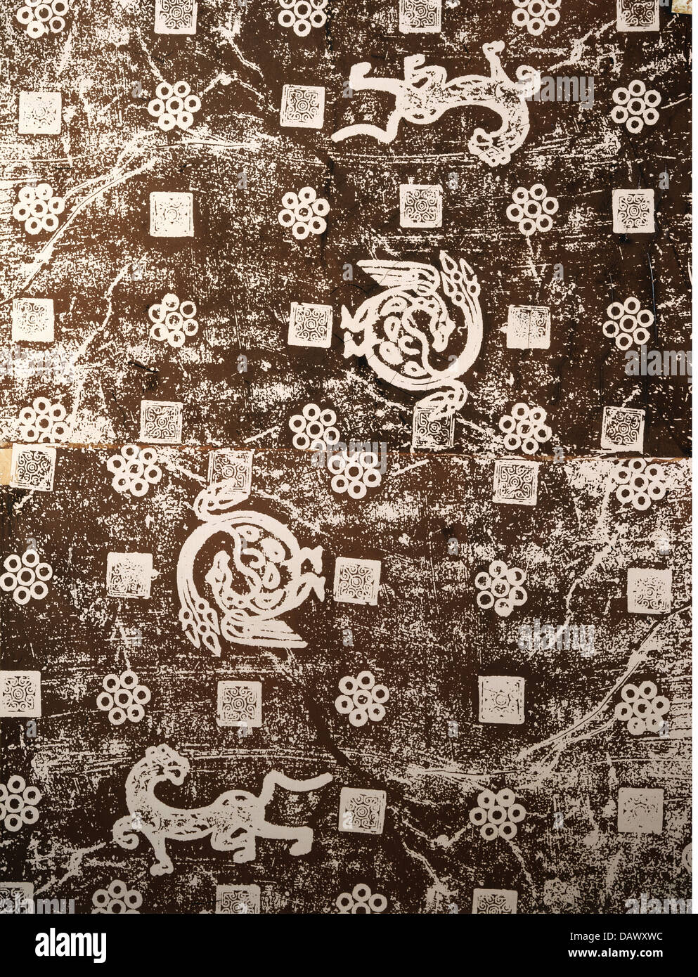 fine arts, China, brass rubbing, decorative ornament with tigers and peacocks, 6th century - 8th century, art, Chinese, - Stock Image