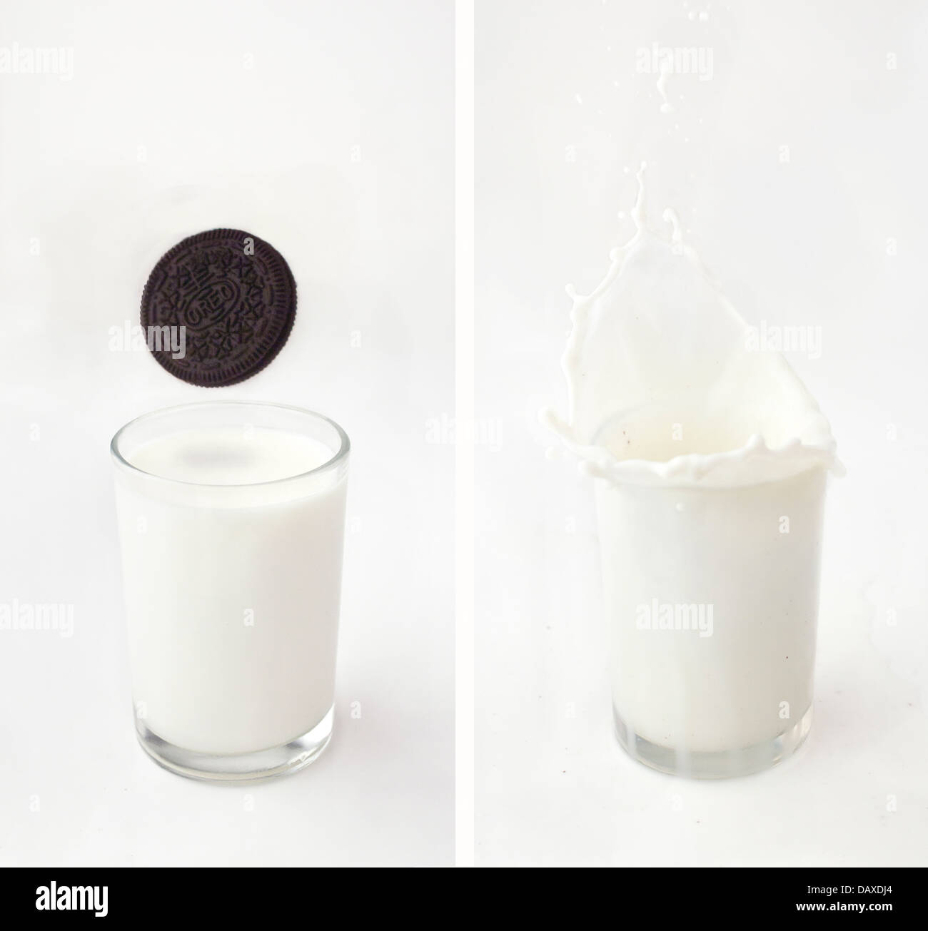 Oreo milk splash - Stock Image