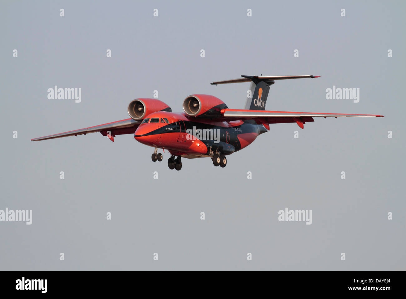 Air freight transport. Antonov An-74 cargo plane in the colours of Ukrainian operator Cavok Air - Stock Image