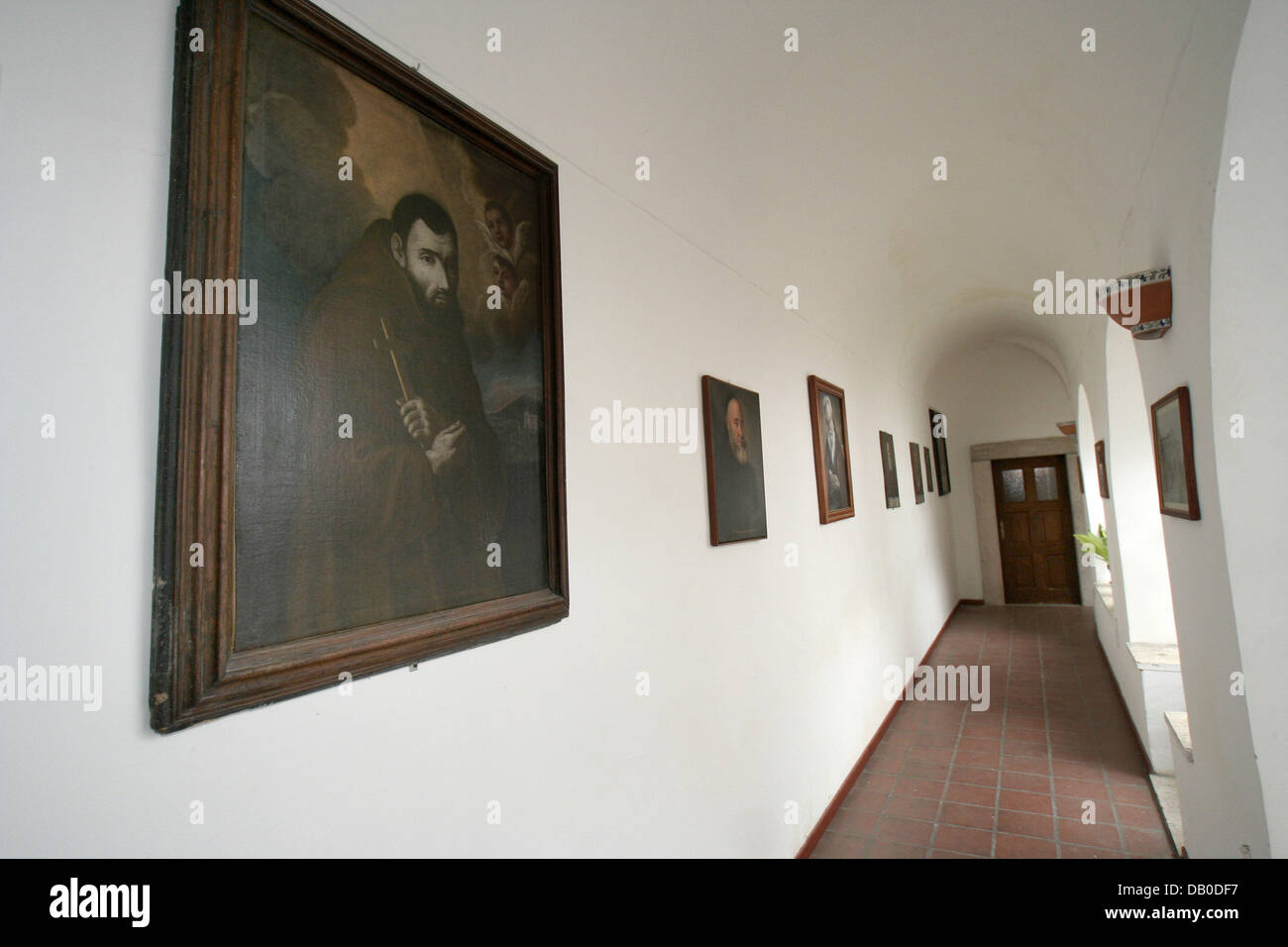The  picture shows a hallway at the Capuchin monastery, which was home to the Italian saint Padre Pio from 1916 - Stock Image