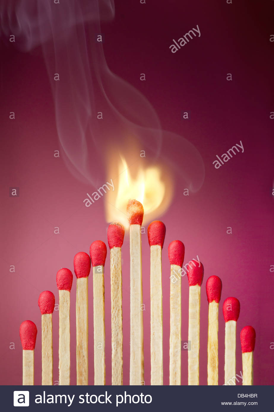 Burning match setting fire to its neighbors, a metaphor for ideas and inspiration - Stock Image