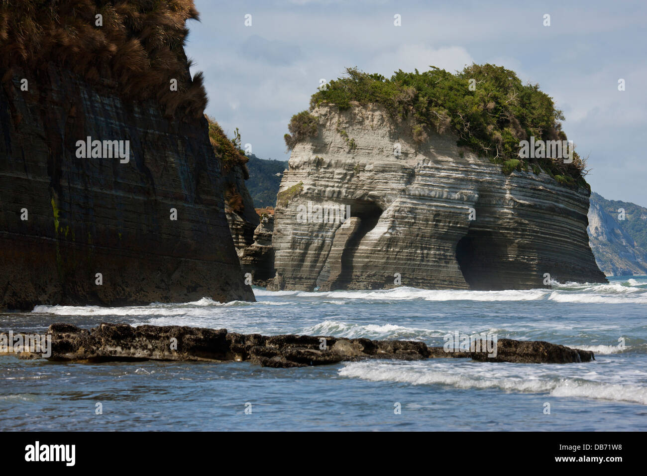 South Pacific, New Zealand, North Island. View of Elephant Rock and its arch. - Stock Image