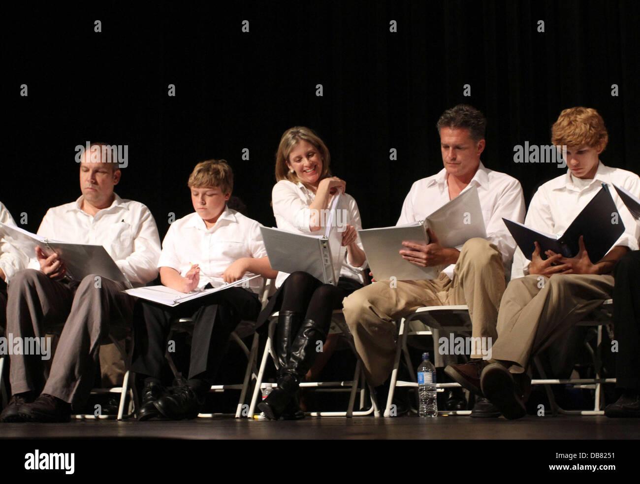 Robert Watzke, Zane Amundsen, Helen Slater, David Humphrey and Tyler Voss 'The Road To Freedom' live audience - Stock Image