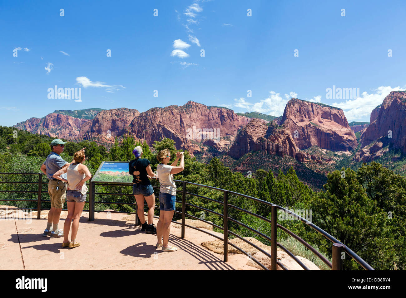 Tourists at an overlook in Kolob Canyons section of Zion National Park, Utah, USA Stock Photo
