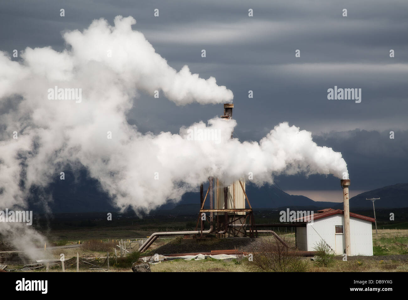 geothermal power station green sustainable alternative and clean energy small local plant in Iceland - Stock Image