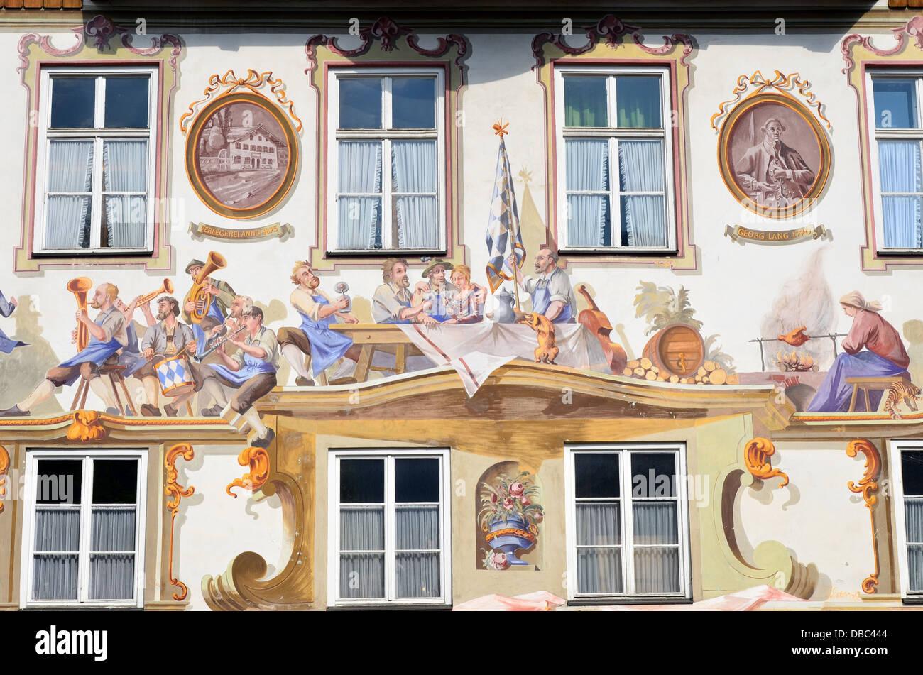 Trompe L Oeil Malerei oberammergau bavaria lüftlmalerei fresco frescoes architectural
