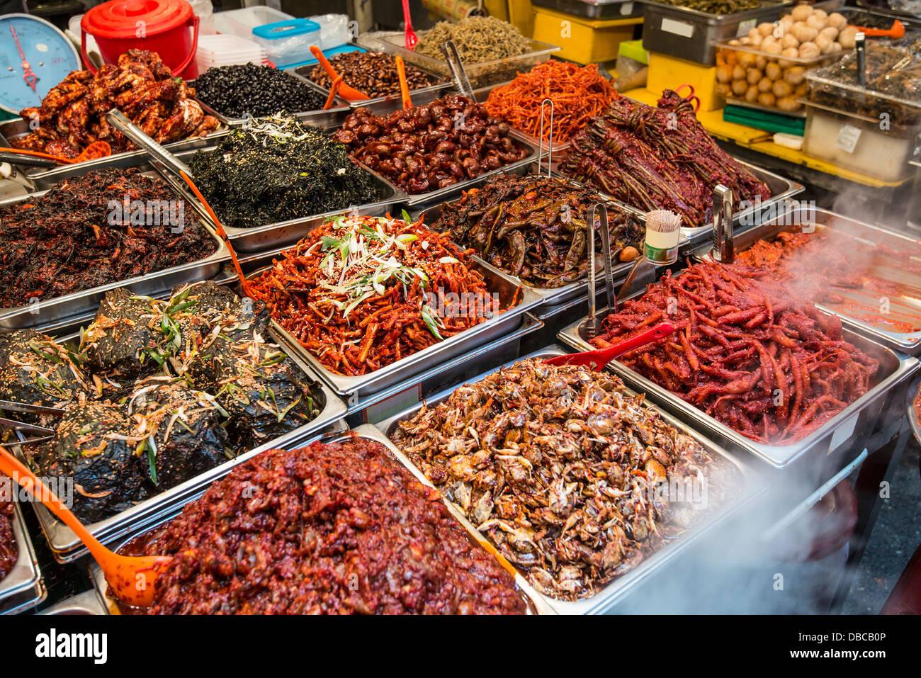 Food on display at Gwangjang Market in Seoul, South Korea. - Stock Image