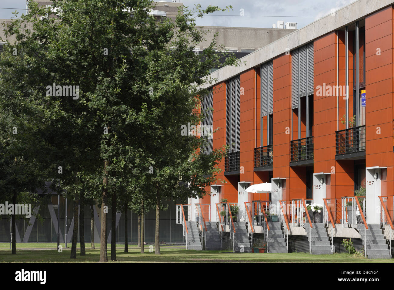 Chasse Park Housing, Breda, Netherlands. Architect: OMA, 2001. Townhouses, designed by various architects within - Stock Image