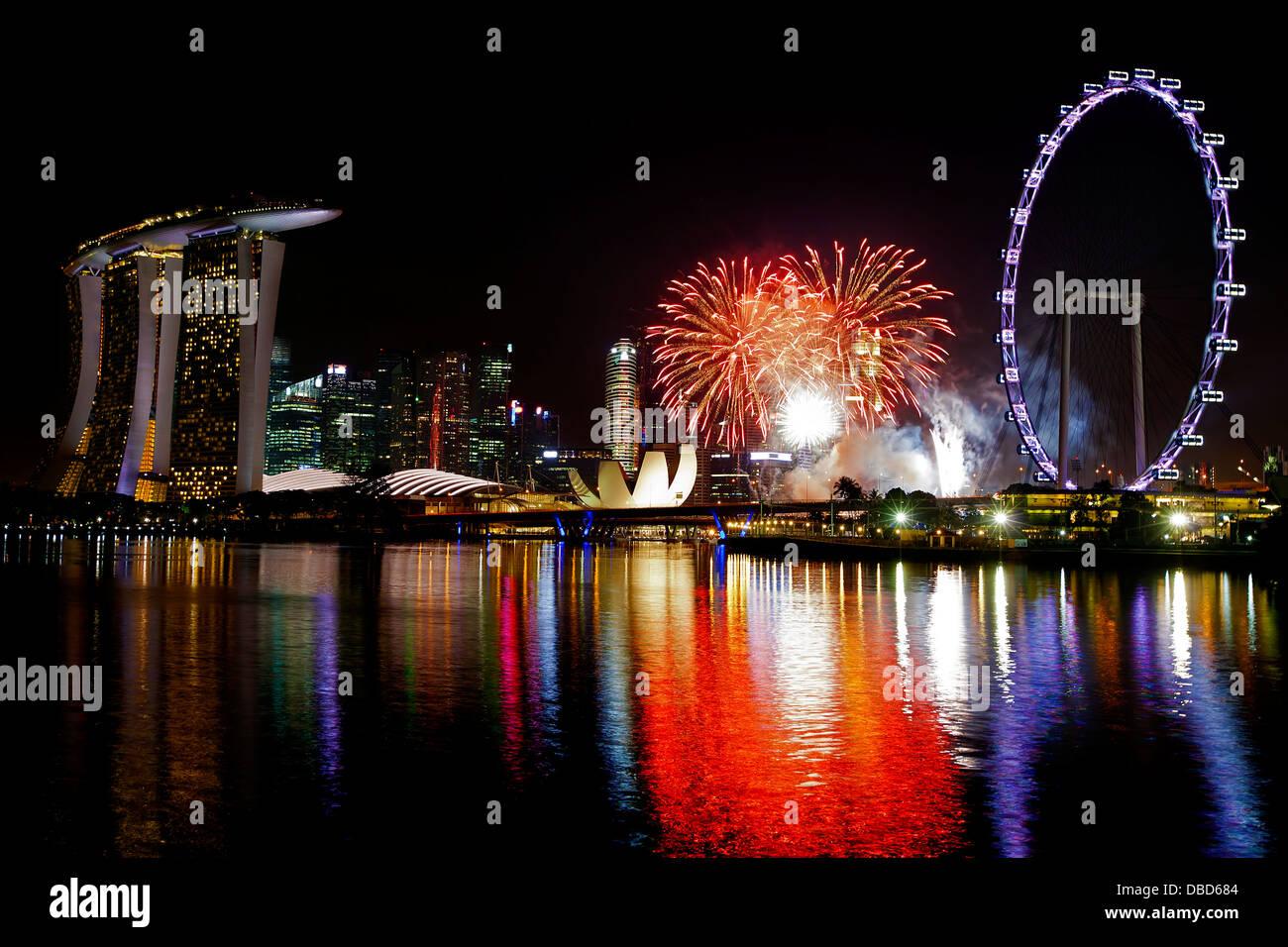 Singapore Fireworks - Stock Image
