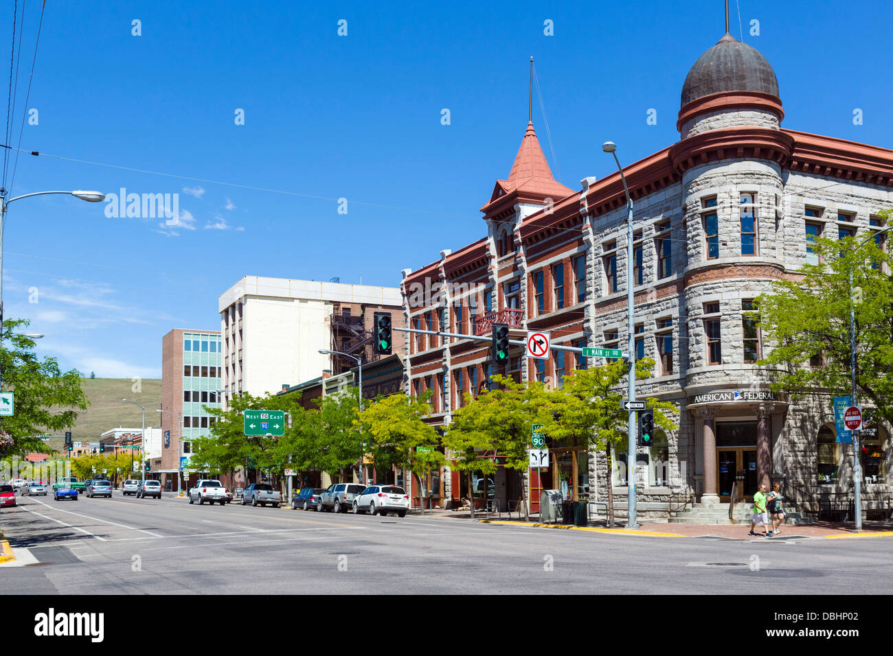 View down N Higgins Avenue at the intersection with Main Street in historic downtown Missoula, Montana, USA Stock Photo
