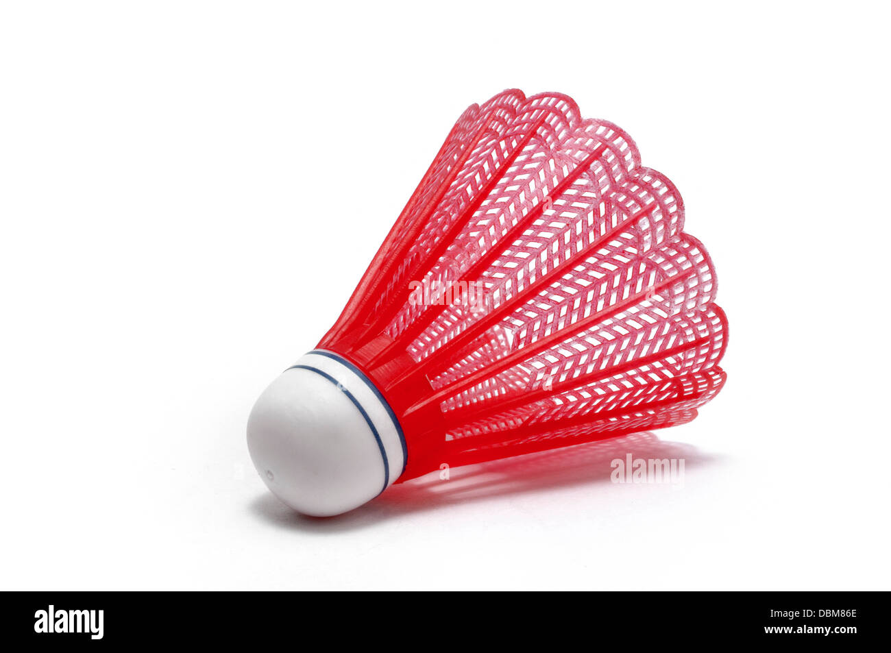 Red Badminton Shuttlecock (Birdie) isolated on white - Stock Image