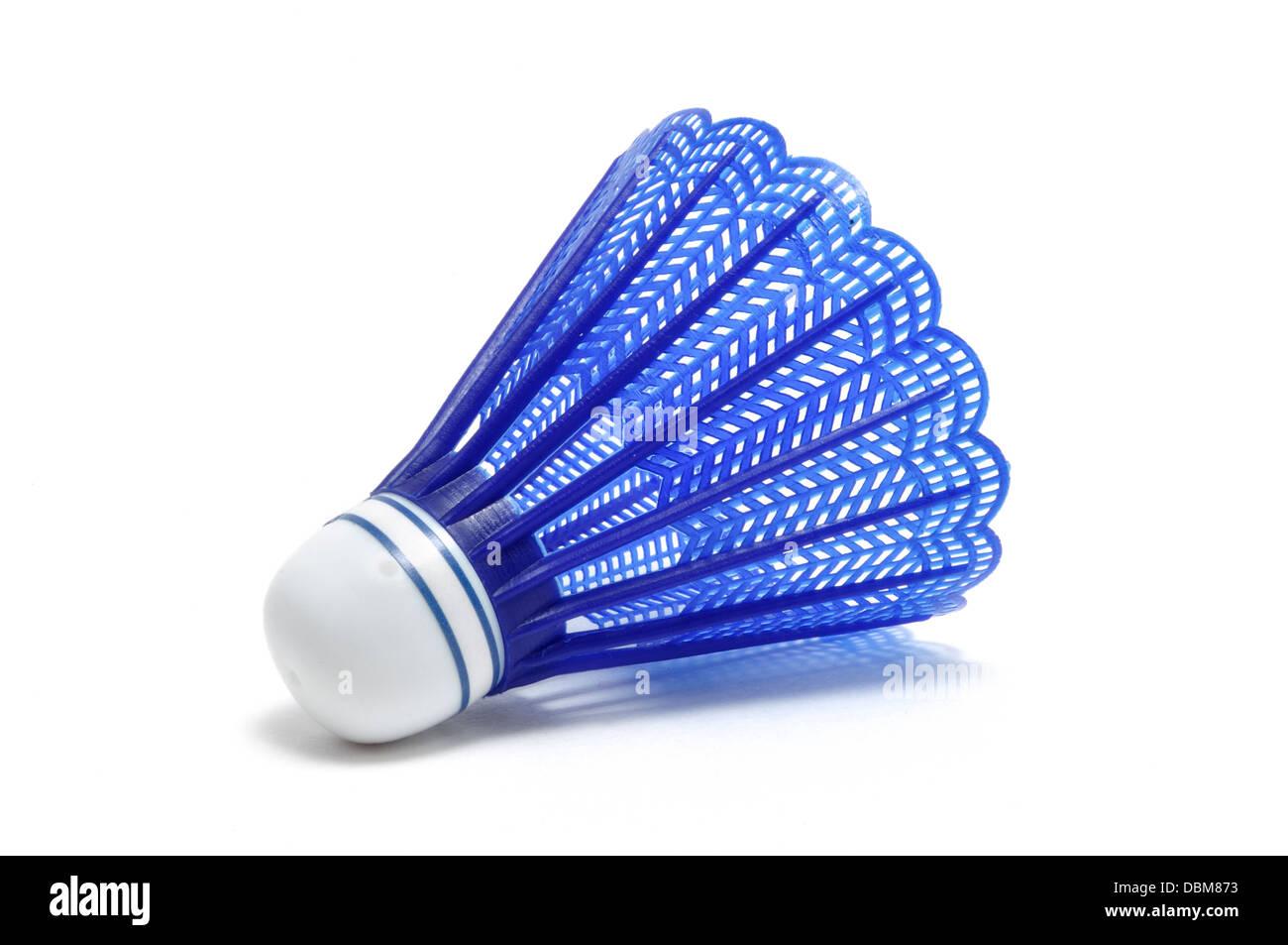 Blue Badminton Shuttlecock (Birdie) isolated on white - Stock Image