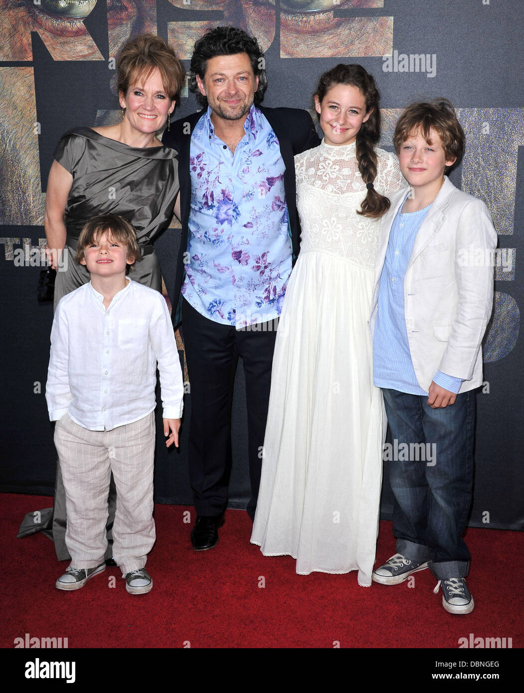 Andy Serkis and his family The premiere of 20th Century Fox's 'Rise Of The Planet Of The Apes' held - Stock Image