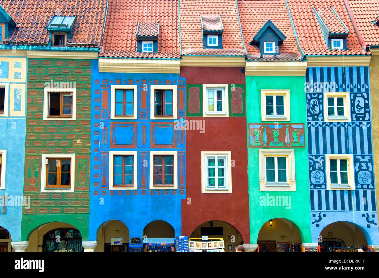 Colourful Houses, Poznan, Poland - Stock Image
