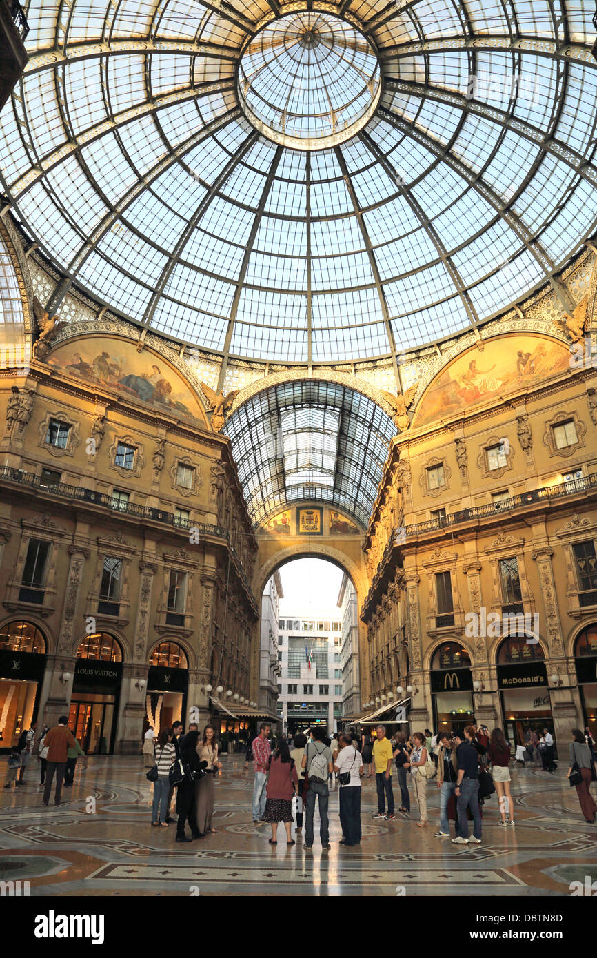 Galleria Vittorio Emanuele is a historic shopping arcade in Milan Italy - Stock Image
