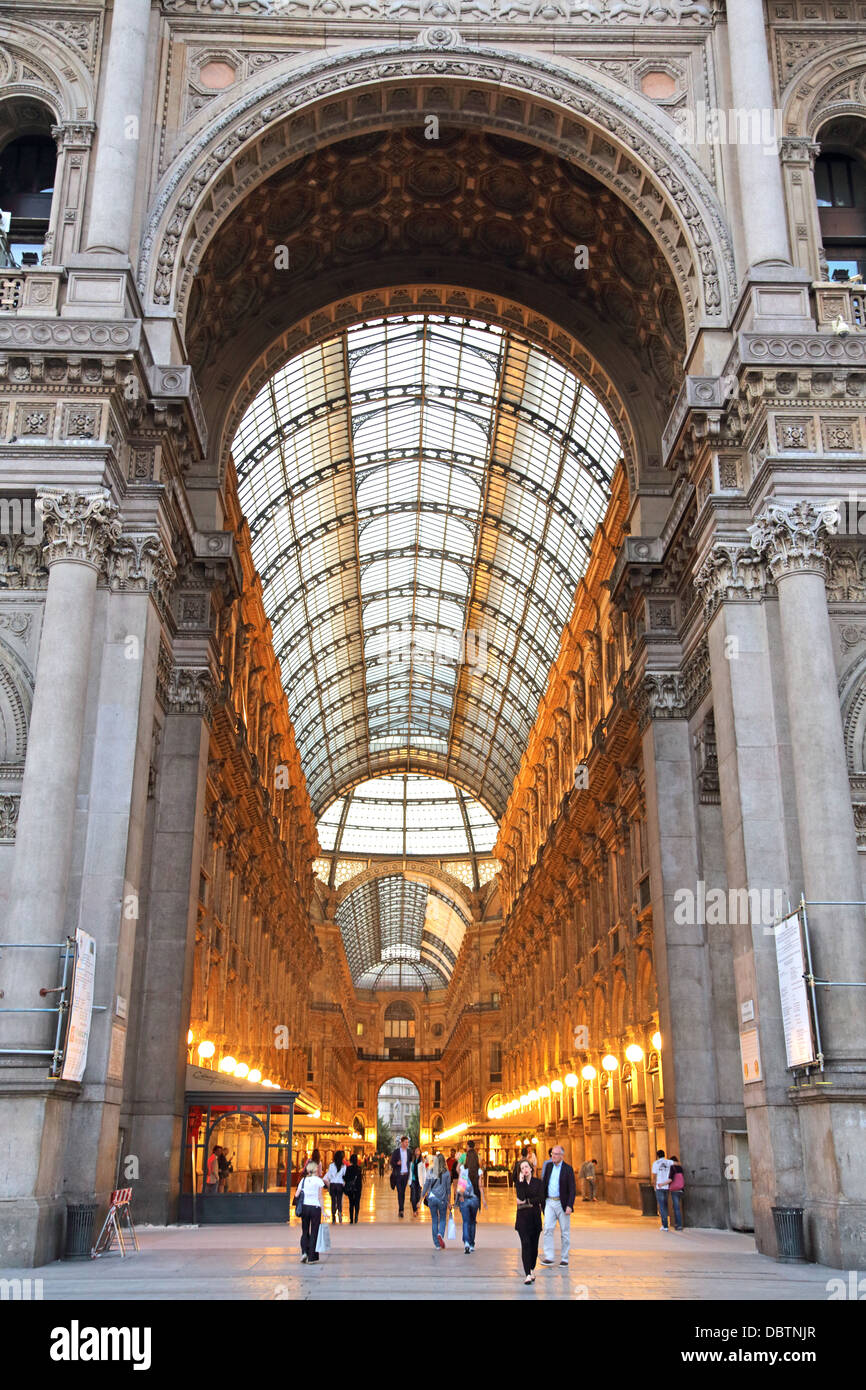 Entrance to the Galleria Vittorio Emanuele in Milan Italy - Stock Image