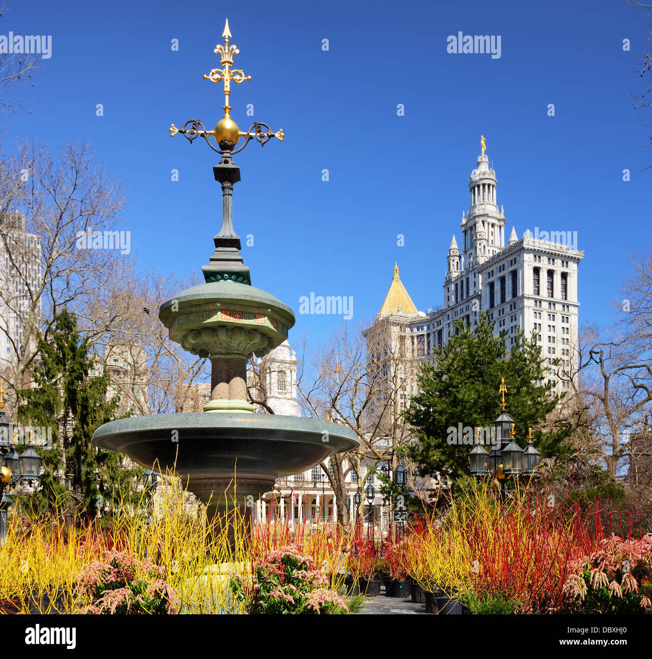 City Hall Park in New York City. - Stock Image