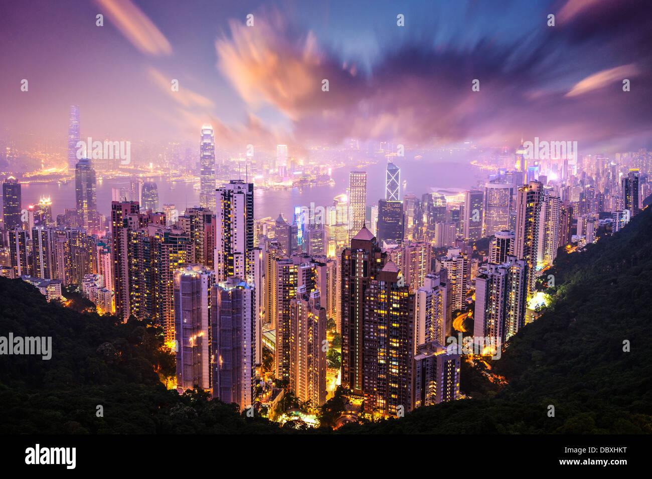 Hong Kong, China skyline from Victoria Peak. - Stock Image