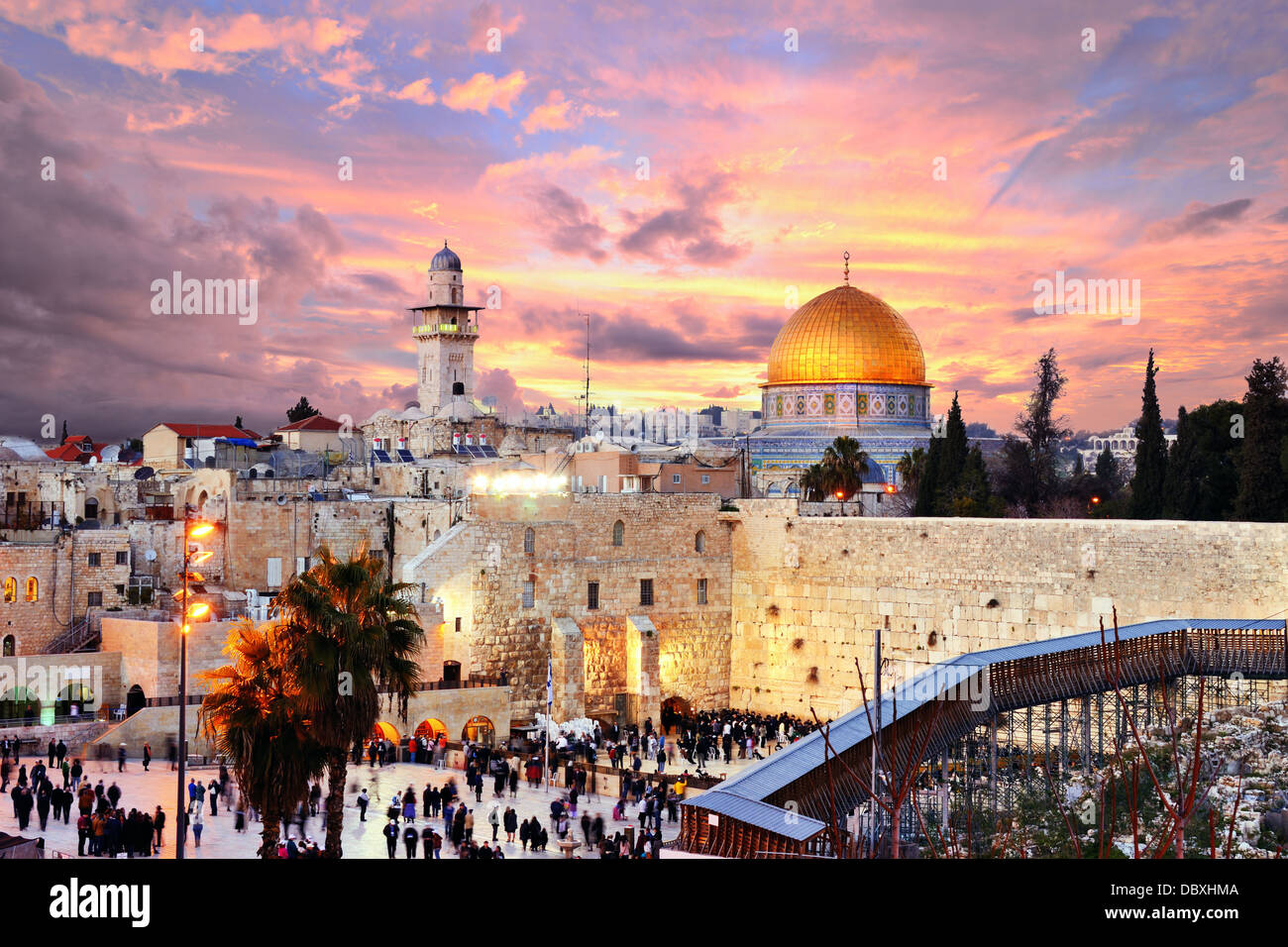 Skyline of the Old City at he Western Wall and Temple Mount in Jerusalem, Israel. - Stock Image