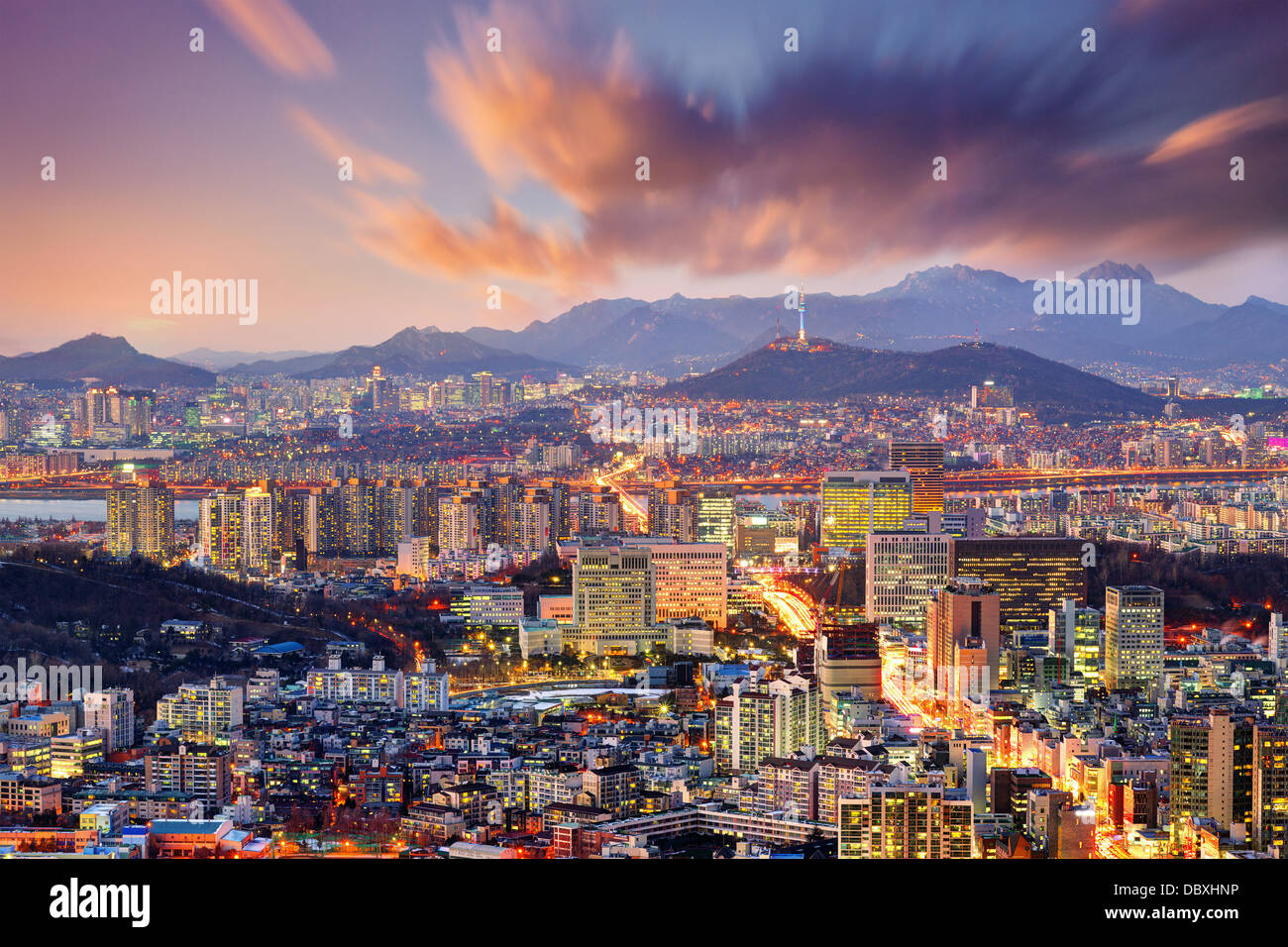 Downtown Seoul, South Korea, USA. - Stock Image
