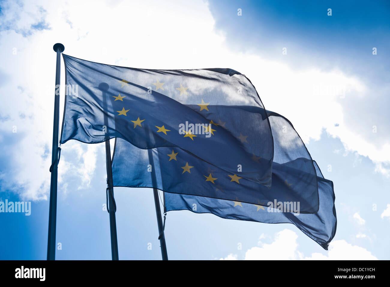 European community flags - Stock Image