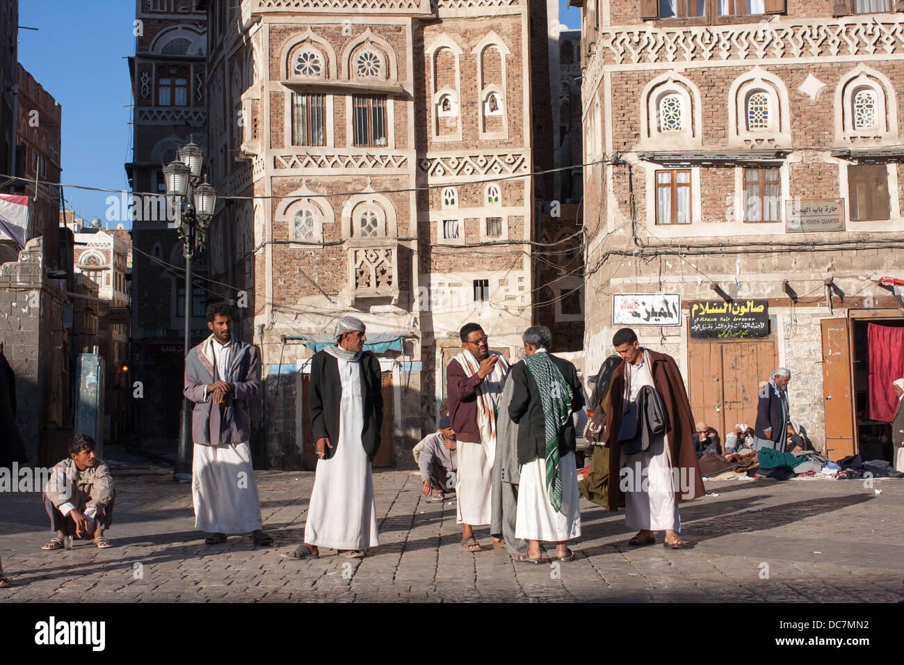 Group of men in the old city, Sanaa, YemenStock Photo