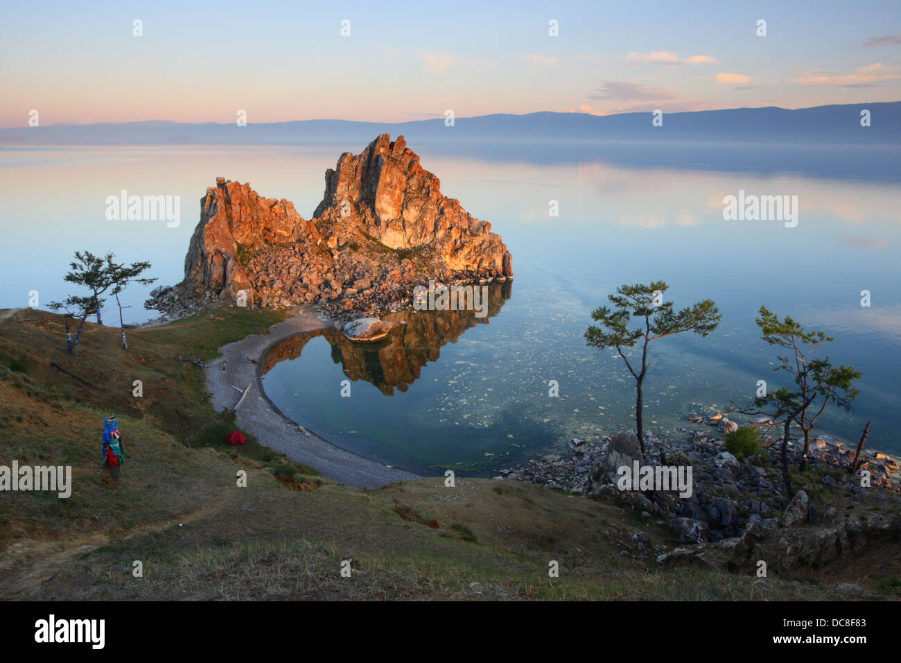 Mountain 'Shamanka', Burkhan Cape, one of the nine most sacred places in Asia on Olkhon Island on Lake Baikal - Stock Image