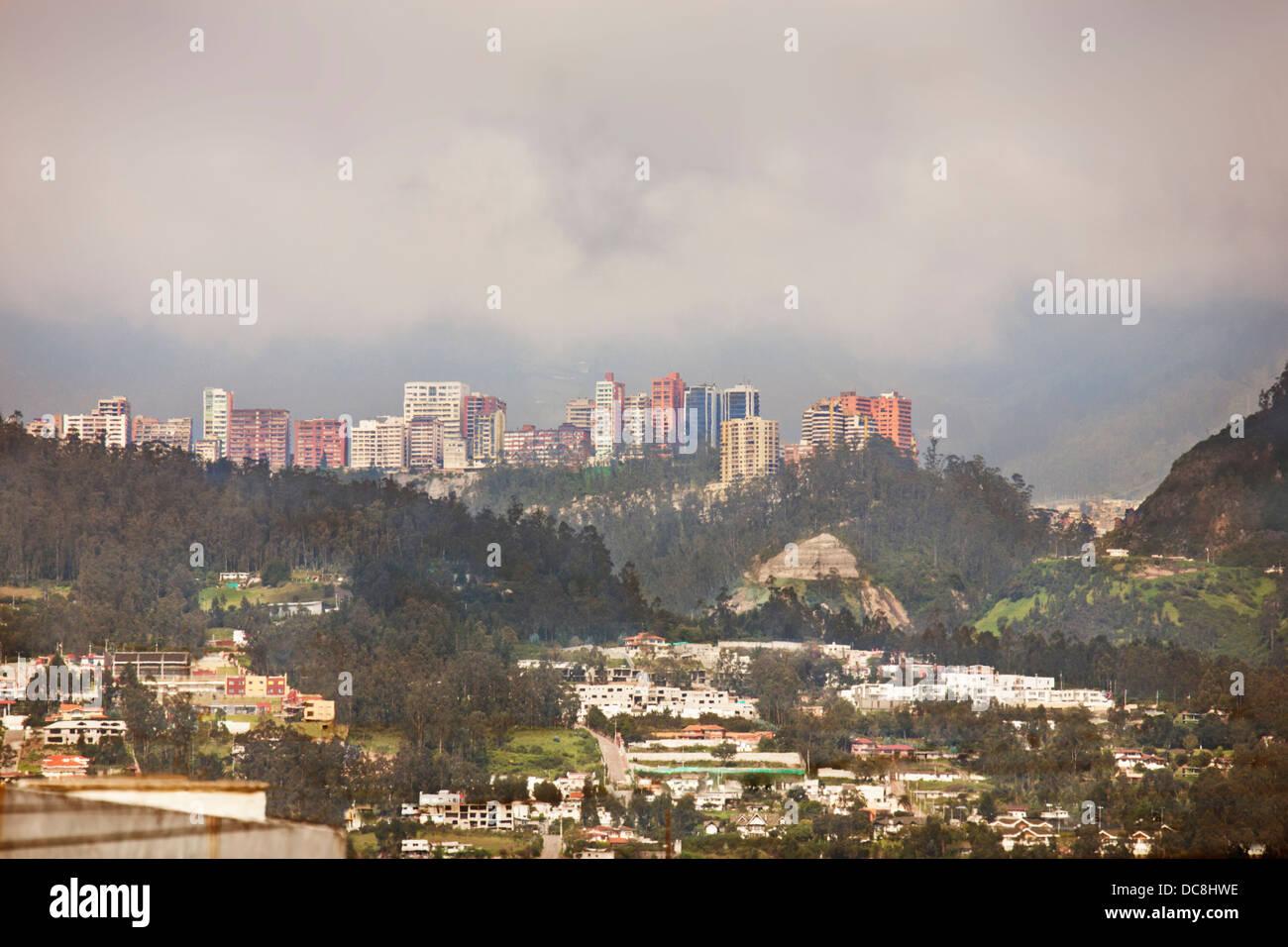 South America, Ecuador, Quito. Partial overview of city skyline. - Stock Image