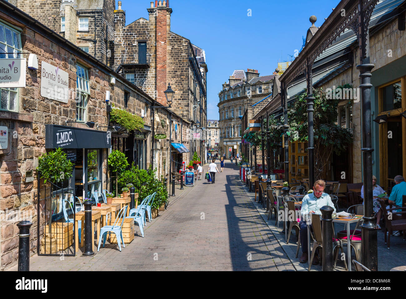 Cafes, bars and restaurants on John Street in the old town centre, Harrogate, North Yorkshire, England, UK Stock Photo
