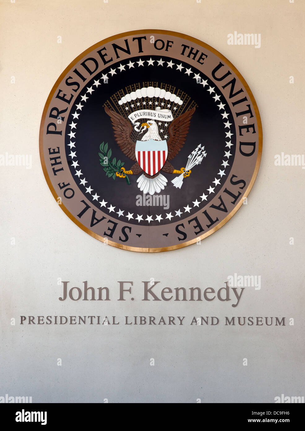 Image of the Seal of the President of the United States, inside the John F. Kennedy Presidential Library and Museum. Stock Photo