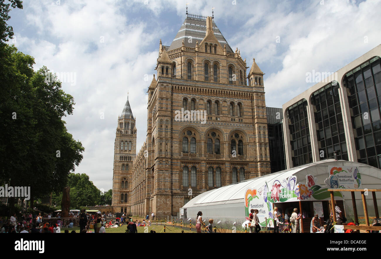 People having picnics with Sensational Butterflies exhibit Natural History Museum London UK July 2013 - Stock Image