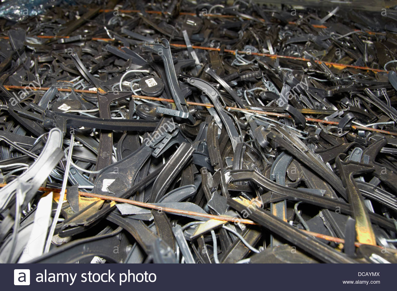 old black plastic coat hangers Stock Photo