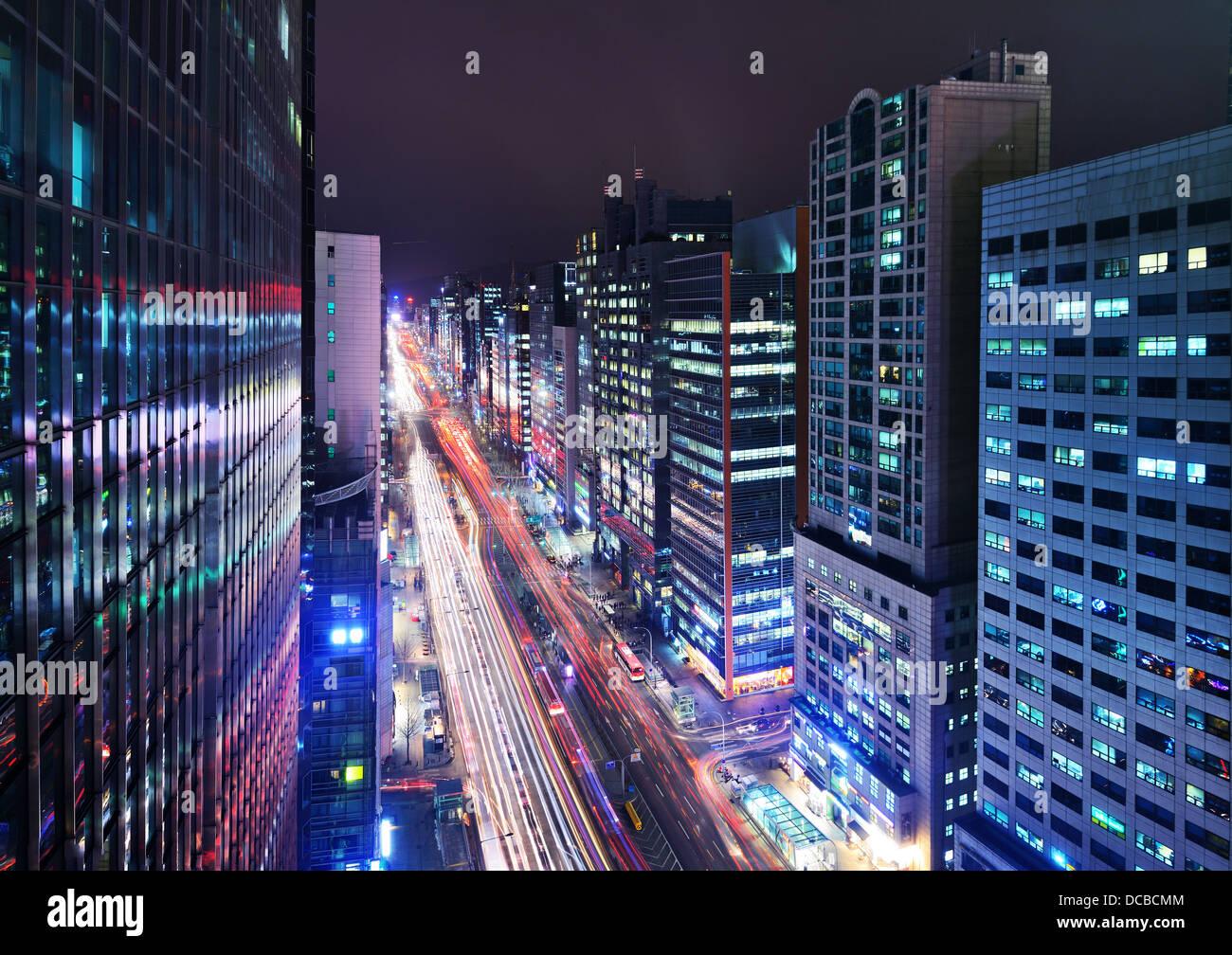 Gangnam District, Seoul, South Korea cityscape at night. - Stock Image