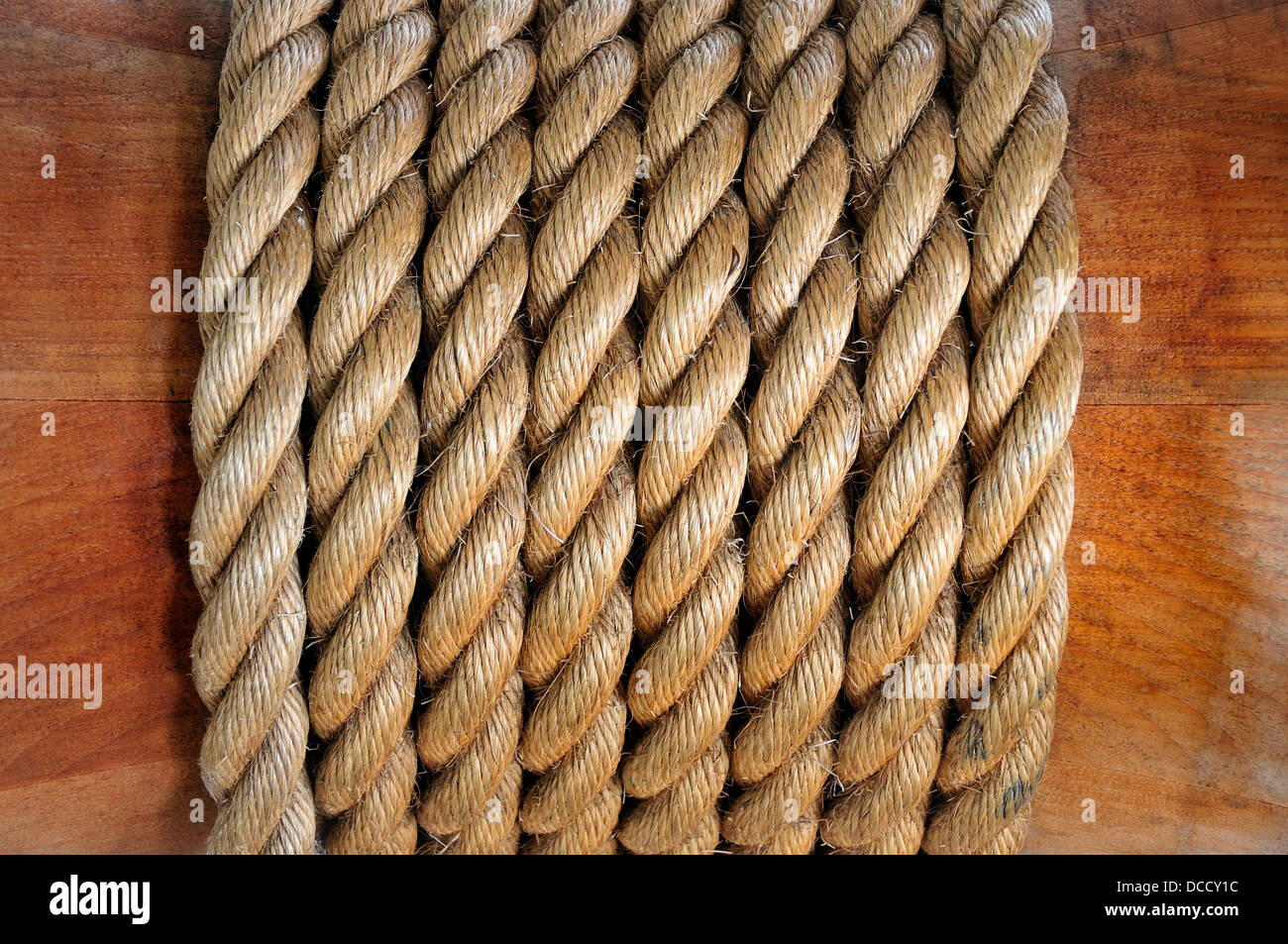 Chatham, Kent, England, UK. Chatham Historic Dockyard. HMS Gannet - rope wound around the ship's wheel - Stock Image