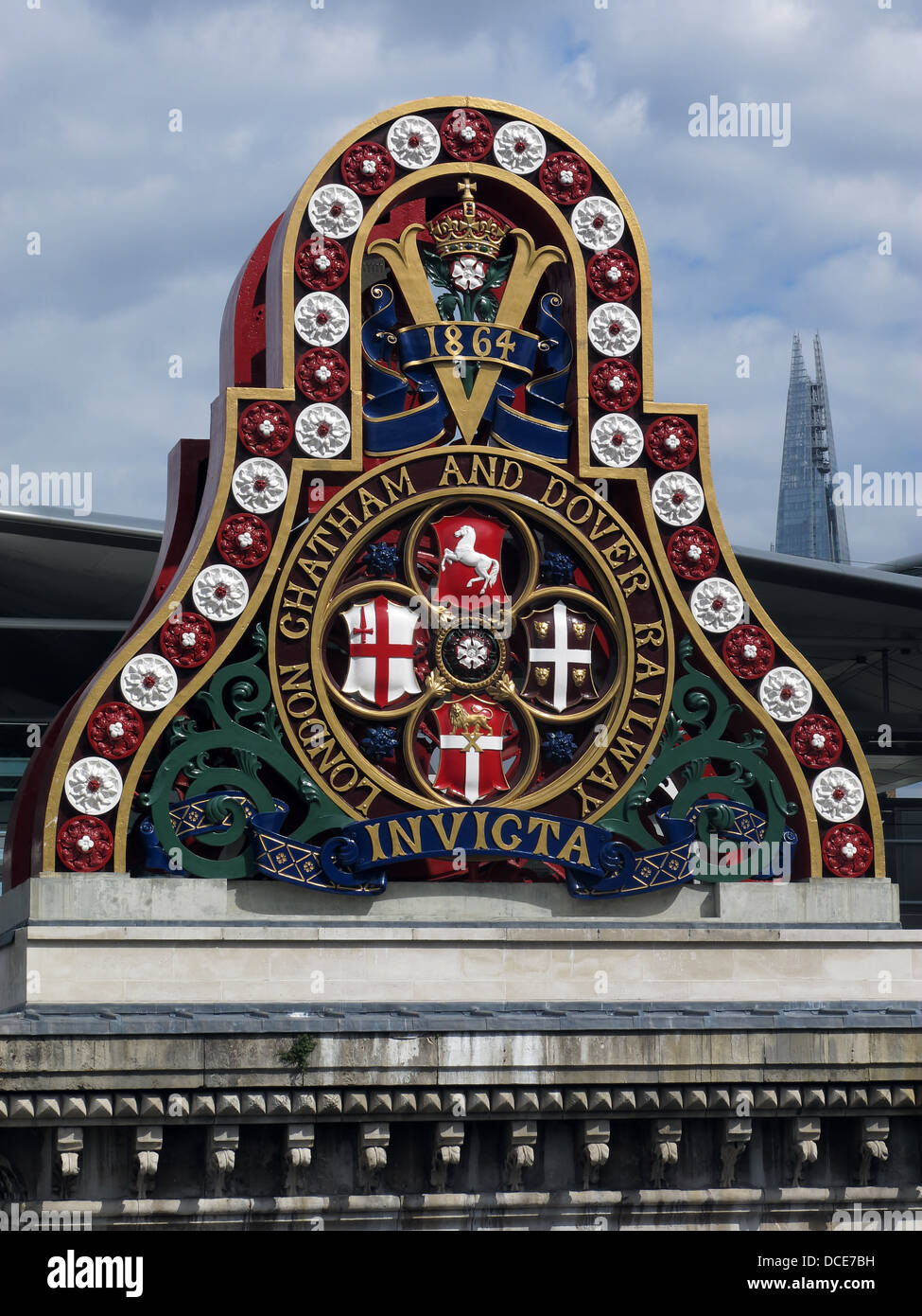 LCDR,crest,Thames,coat,of,arms,city,of,history,station,decoration,victorian,colorful,colourful,decoration,transport,historic,rail,railroad,England,UK,GB,great,british,britain,Invicta,freshly,painted,renovated,1864,construction,metal,embankment,trail,riverside,river,side,beside,BR,British,rail,Britis,Gotonysmith,London,Chatham,and,Dover,railway,Invicta,bridge,support,at,Blackfriars,London,England with The Shard in the background,Buy Pictures of,Buy Images Of