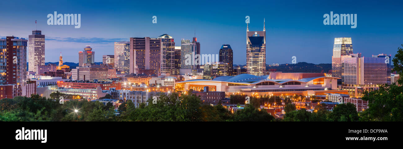 Twilight over Nashville Tennessee, USA - Stock Image