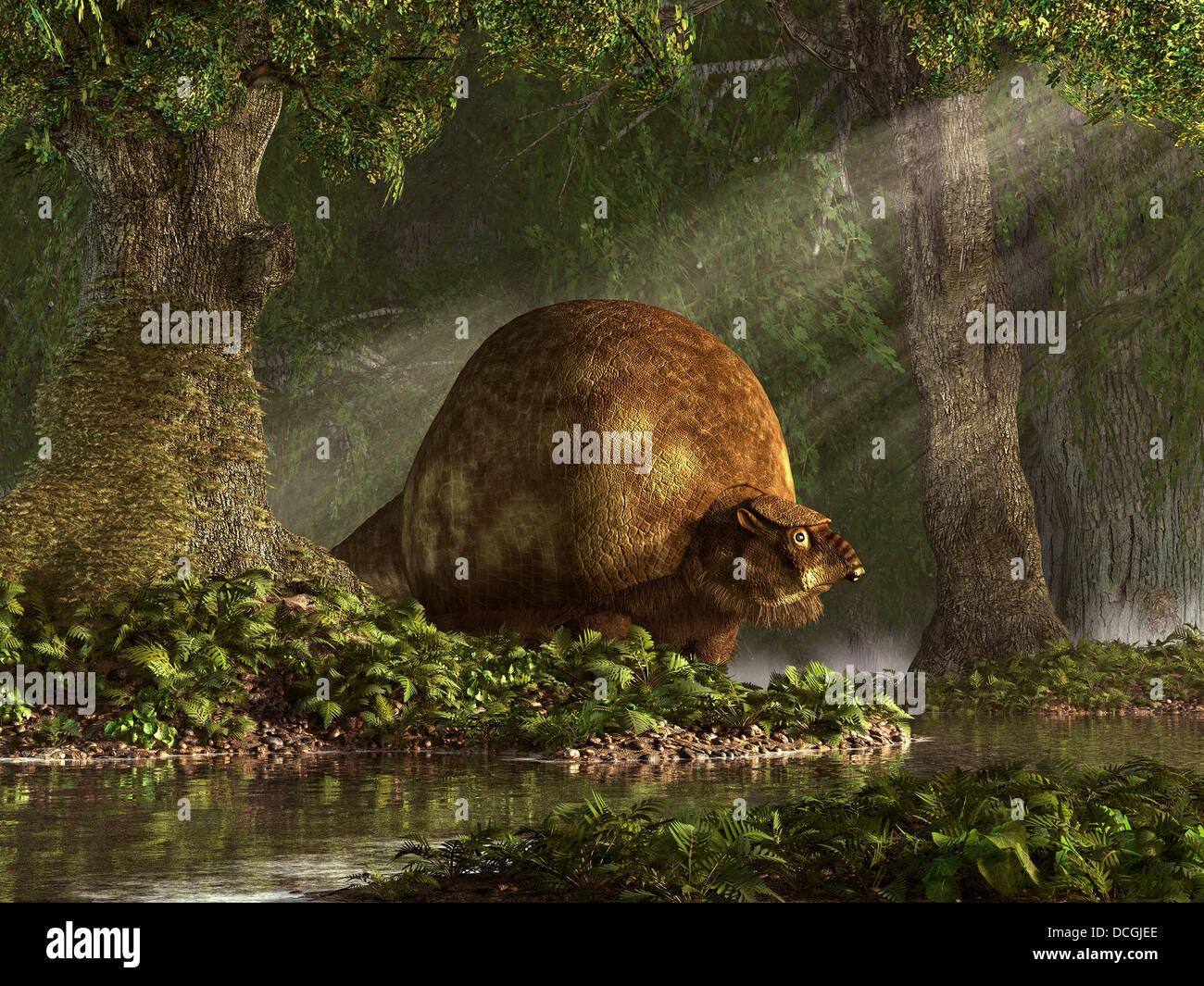 A large Glyptodon stands near the edge of a stream. Stock Photo