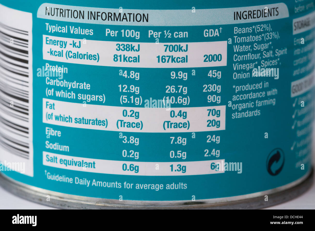 Nutritional information on a baked bean can. - Stock Image