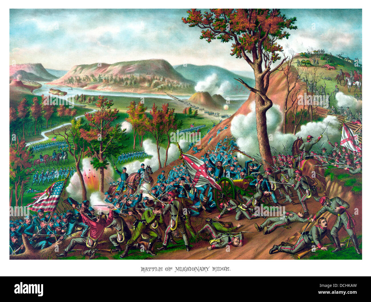 Vintage American Civil War print featuring the Battle of Missionary Ridge, which took place during the Chattanooga - Stock Image