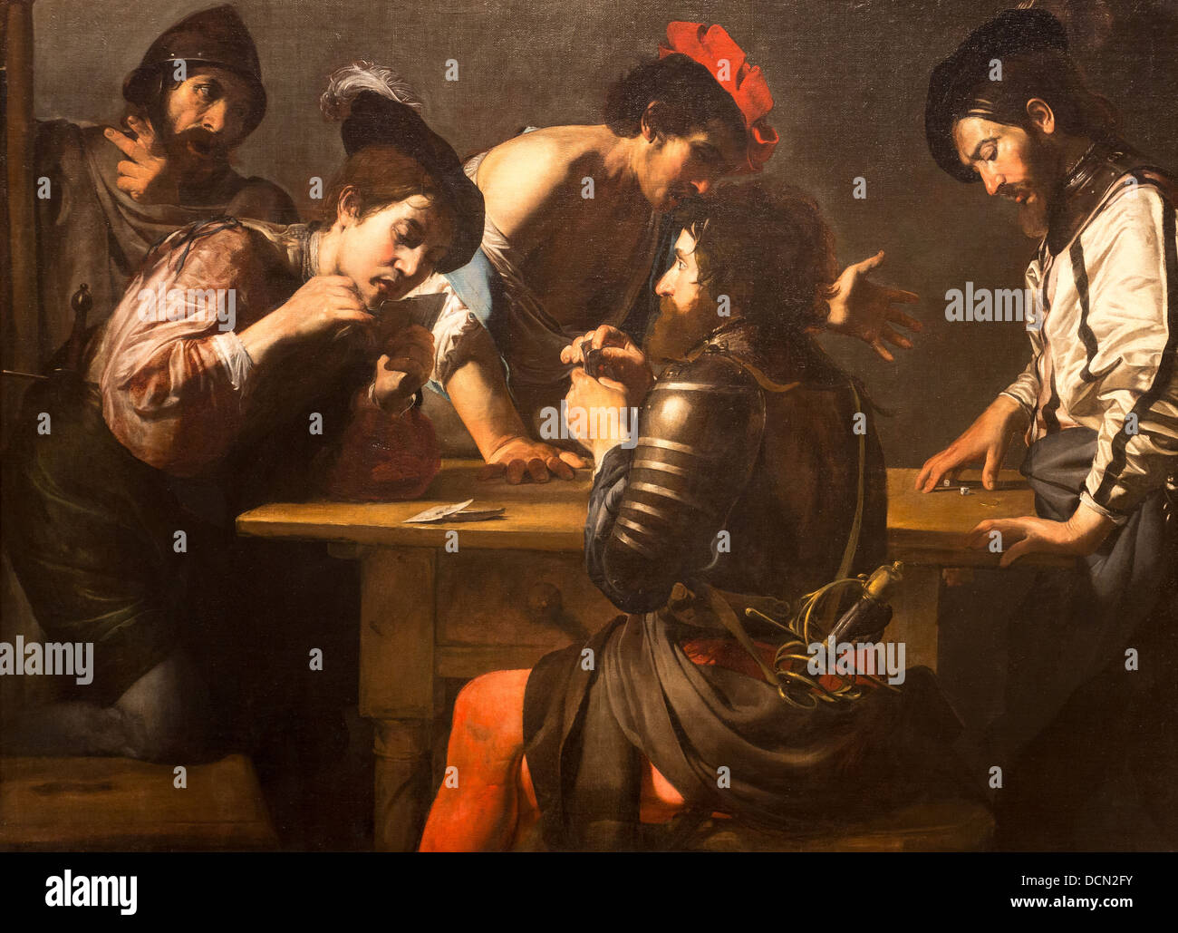 17th century  -  Soldiers Playing Cards and Dice (The Cheats), 1620 - Valentin de Boulogne - Stock Image