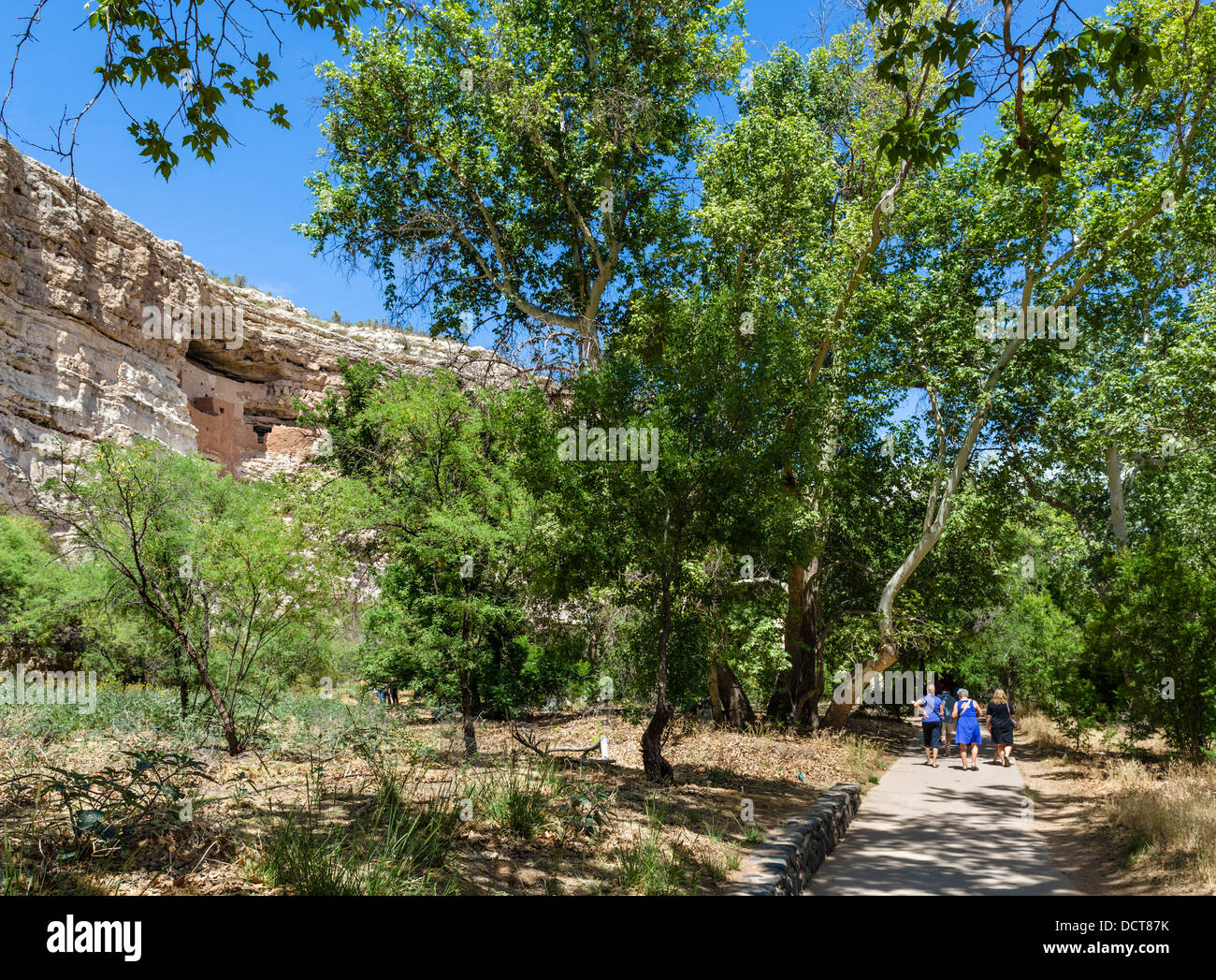 Tourists on trail at Montezuma Castle National Monument, well preserved cliff dwelling of the Sinagua, Camp Verde, - Stock Image